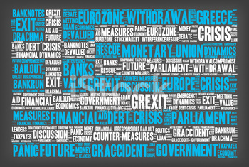 Grexit Word Cloud - About the Greek Crisis, Greek Flag