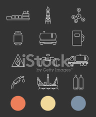 Natural gas. Production and transportation flat icons