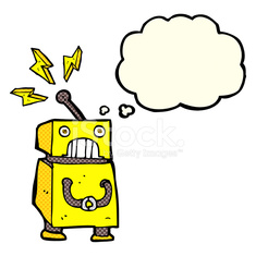cartoon little robot with thought bubble