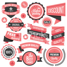 Creative vector badges, labels and ribbons set