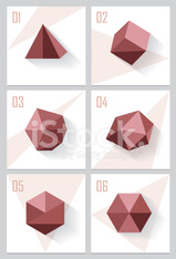 set collection of triangle, cube, polygons, hexagons, platonic solids icons