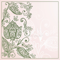 Invitation vintage card with floral elements
