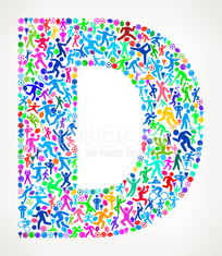 Letter D Fitness Sports and Exercise pattern vector background