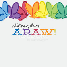 Tagalog line of butterflies Mother's Day card in vector format.