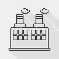 Building factory flat icon with long shadow, line icon