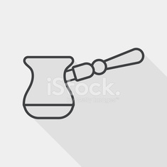 grinding coffee machine flat icon with long shadow, line icon