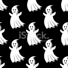 Cartoon uggly ghosts and monsters seamless pattern