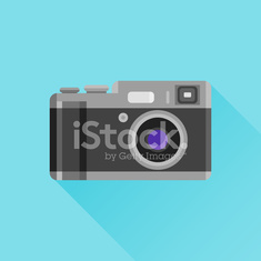 Retro photo camera flat icon