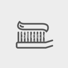 Toothbrush with toothpaste thin line icon