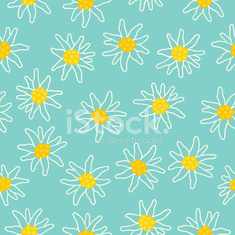Floral seamless pattern with edelweiss