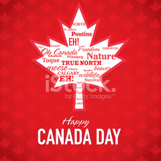 Maple leaf Happy Canada Day Celebration greeting card design template