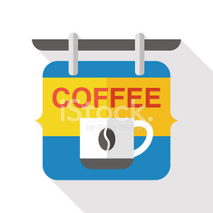 Coffee shop signs flat icon with long shadow