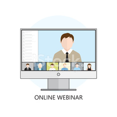 Flat design colorful vector illustration concept for webinar