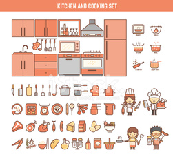 kitchen and cooking infographic elements for kid