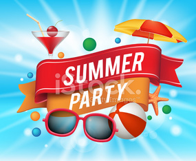 Summer Party Poster with Colorful Elements