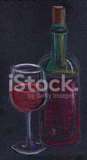 Glass and bottle of red wine, chalk drawing