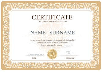 Certificate, Diploma of completion (design template, background)