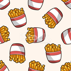 Fried foods theme french fries , cartoon seamless pattern background