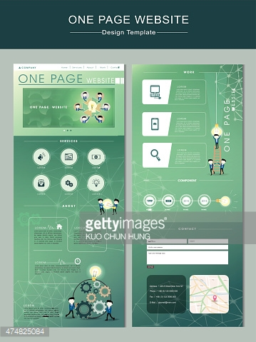 teamwork concept one page website design template