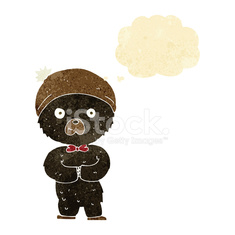 cartoon little black bear with thought bubble