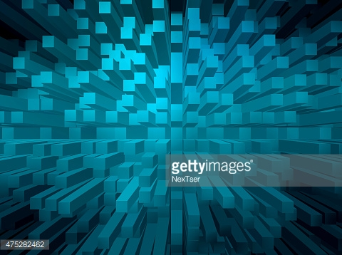 Blue abstract background with 3d pyramid extrude