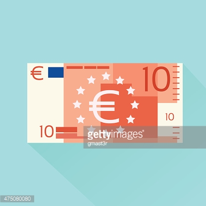 Euro Banknote Flat Design with Shadow