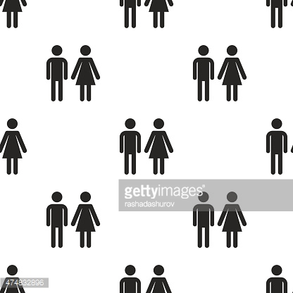 man and woman, vector seamless pattern
