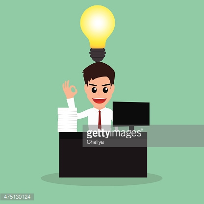 Businessman work hard and have idea