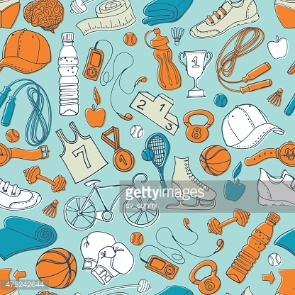 Sport And Fitness Seamless Doodle Pattern Stock Photos