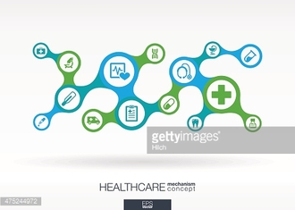 Healthcare metaball integrated icons. Growth vector medical abstract background illustration