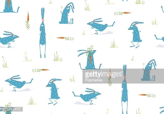 Brightly Colored Fun Cartoon Rabbits Animals Seamless Pattern Background