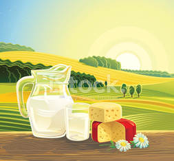 Countryside landscape and set milk products.