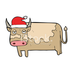 cartoon cow with christmas hat