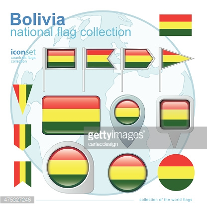 Flag of Bolivia, icon collection, vector illustration