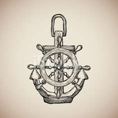 Vintage Marine Anchor with Steering Wheel isolated engrave. Vector