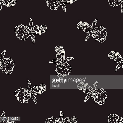 clown doodle drawing seamless pattern background