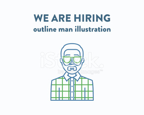 Vector illustration of a man with beard who is hiring