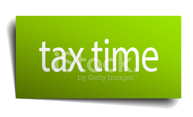 tax time square paper sign isolated on white