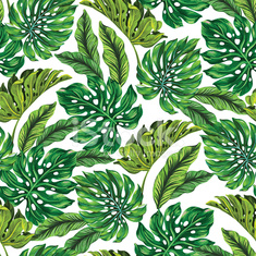 vector pattern with tropical leaves.