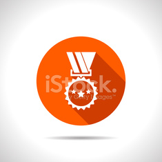 Badge with ribbons and stars icon