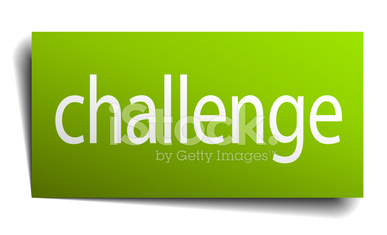 challenge green paper sign on white background