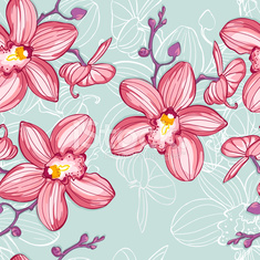 tropic floral background with orchids