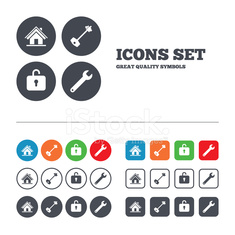 Home key icon. Wrench service tool symbol