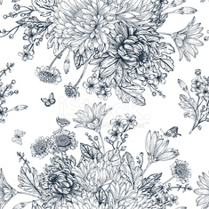 Seamless pattern with summer flowers.