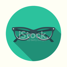Flat Design Cats Eye Glasses Icon With Long Shadow