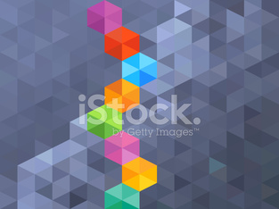 Abstract blue hexagon and colorful background