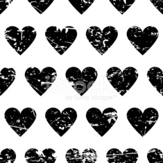 Vector seamless pattern with black hearts background. Abstract grunge texture.