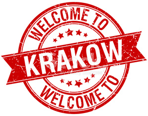 welcome to Krakow red round ribbon stamp