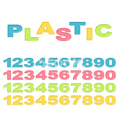 Numbers stylized colorful plastic