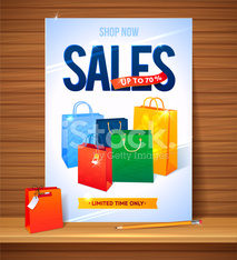 Sale poster shopping paper bags Illustration of percent discount